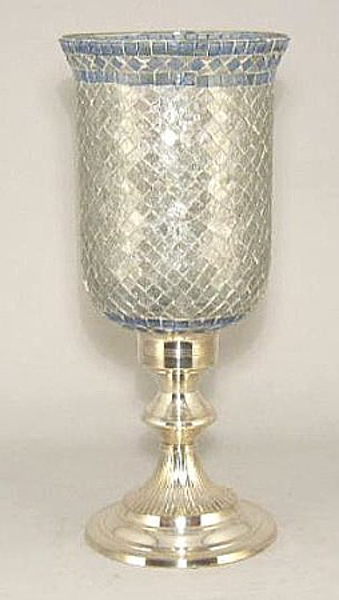 """Picture of Silver Plated on Brass Candle Holder with Mosaic Glass Shade  
