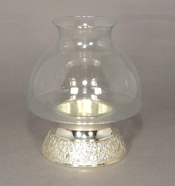 """Picture of Silver Plated on Brass Candle Holder Embossed Base with Glass Shade    6""""Dx8.5""""H    Item No. K79075"""