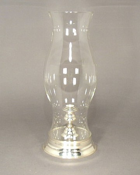 """Picture of Silver Plated on Brass Candle Holder with Glass Shade  