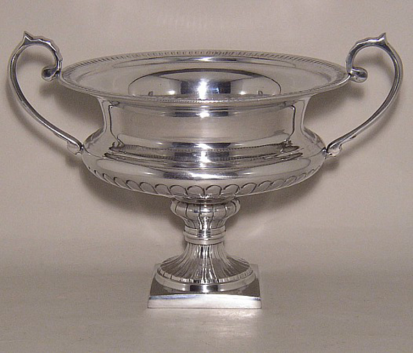"""Picture of Silver Color Bowl  With Handles & Square Base 