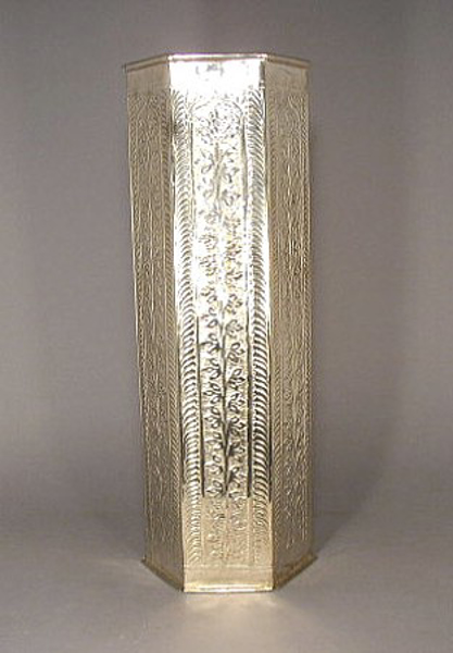 "Picture of Vase-Umbrella Stand Hexagonal Silver 6""Wx 24""H  #K00378"