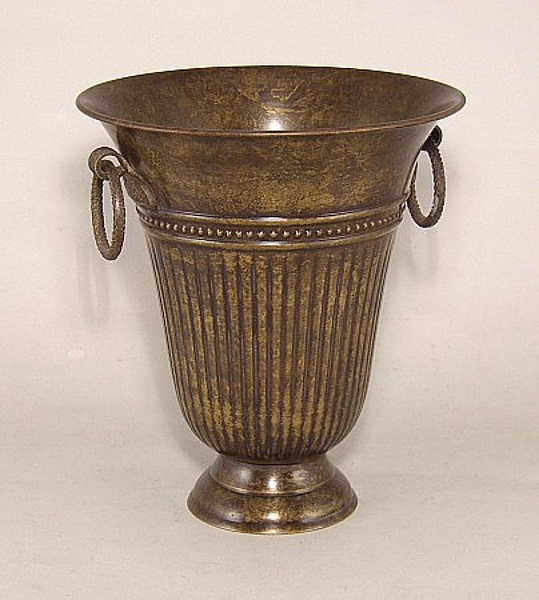 """Picture of Dark Gold Tapered  Vase with Ring Handles 