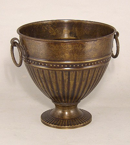 "Picture of Dark Gold Cone  Vase with Ring Handles | 7.25""Dx7.25""H 