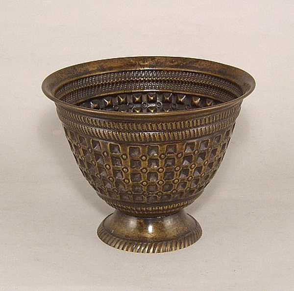 "Picture of Dark Gold Finish On Brass Vase  Embossed Pattern | 7.5""Dx5.75""H 