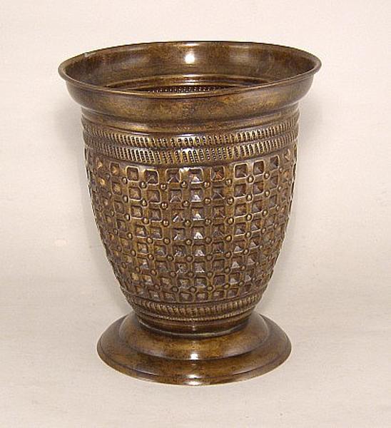 "Picture of Dark Gold Finish On Brass Vase  Embossed Pattern | 7.5""Dx9""H |  Item No. K65204L"