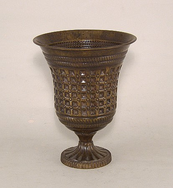 "Picture of Dark Gold Finish On Brass Vase  Embossed Pattern | 6.5""Dx8.25""H 