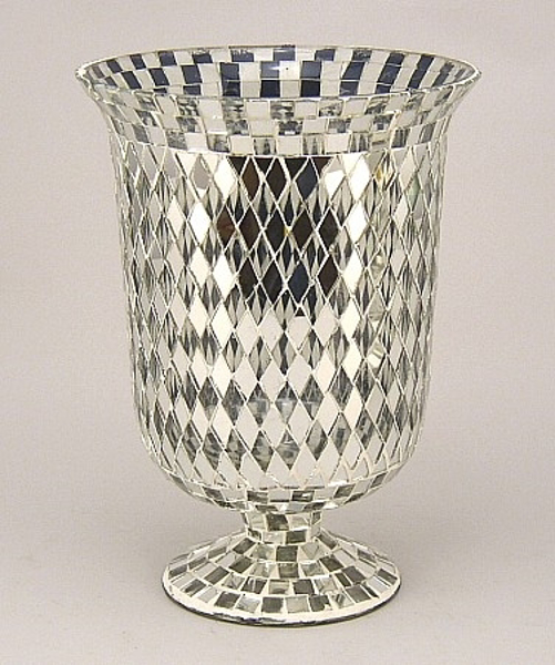 """Picture of Silver Mosaic on Glass Vase Mirror Chips  