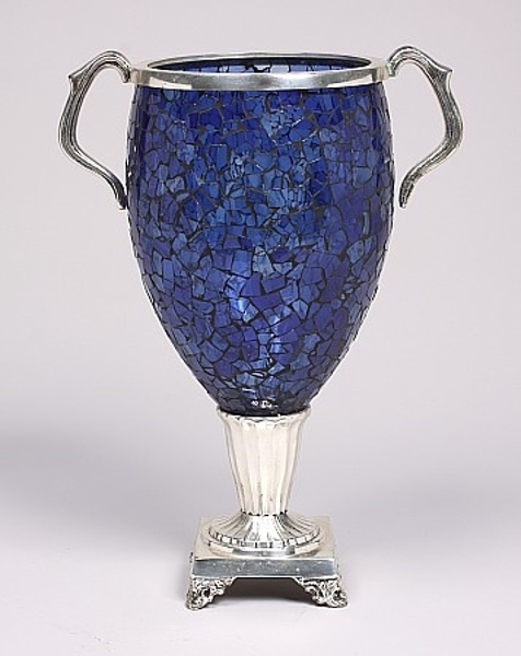 """Picture of Mosaic on Glass Vase Blue Silver Metal Handles 8""""x16.5""""H  #K70131"""