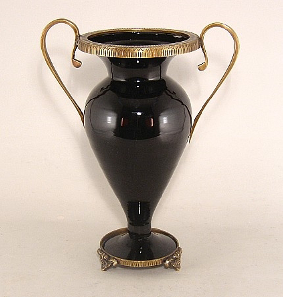 "Picture of Black Glass Vase with handles 12""H #K69133"