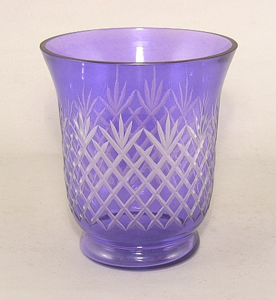 """Picture of Purple Cut Glass Vase Mesh Pattern for Flowers     6""""Dx7""""H    Item No. K10401"""
