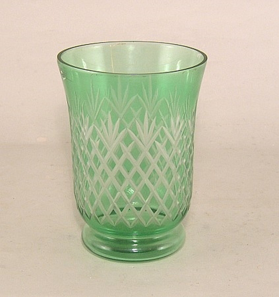 "Picture of Cut Glass Vase Green 4.5""Dx6""H   #K10404"