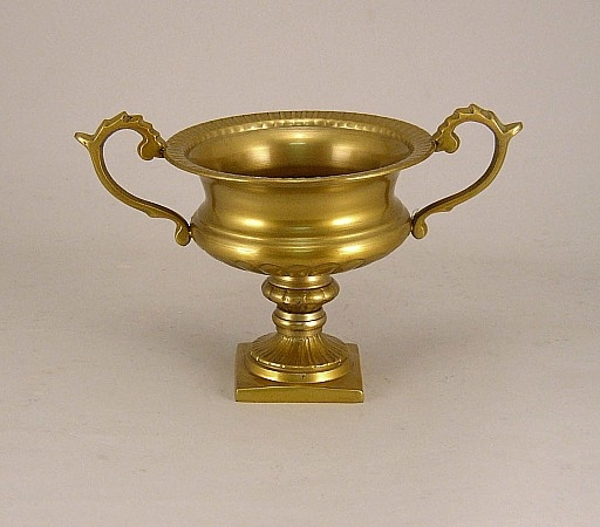 """Picture of Antique Gold on Aluminum Bowl with Handles on Pedestal Base    6""""Dx4.5""""H    Item No. K51474"""