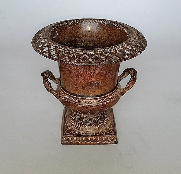 """Picture of Brown Vase Perforated Border with Handles 