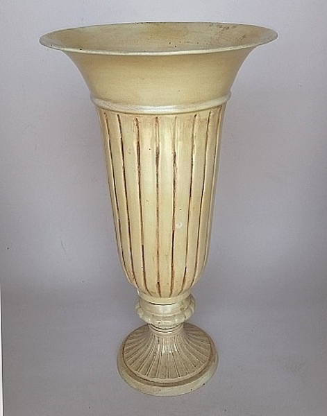 "Picture of Ivory Finish on Brass  Vase Fluted  | 10""Dx18""H 