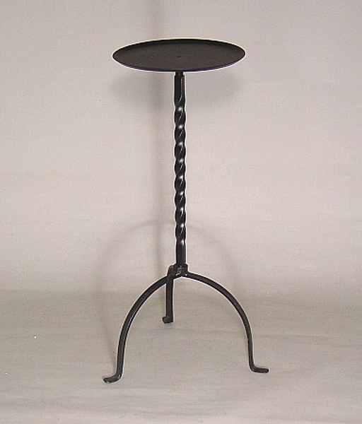 "Picture of Floral Stand Black Finish Wrought Iron Twist Pole 3-Legs | 7.25""Dx19""H 