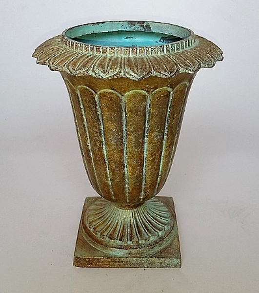 """Picture of Beige Finish on Brass Vase with Decorative Ring Top Fluted   6.5""""Dx8""""H    Item No. K52206"""