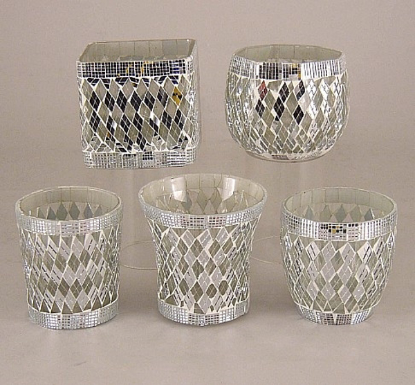 Picture of Silver Mosaic Glass Votive set of 5 #KMV3