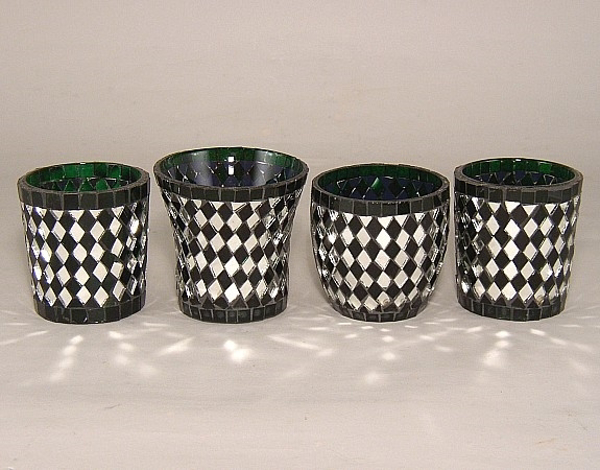 Picture of Green Mosaic Glass Votive set of 4 #KMV6-1