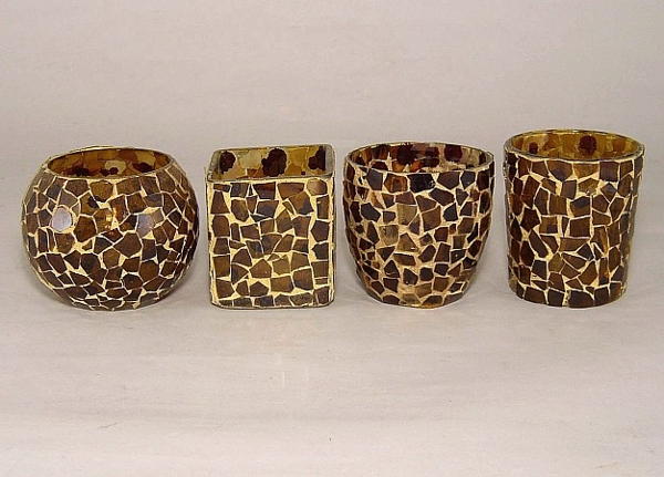 Picture of Tiger Mosaic Glass Votive set of 4 #KMV10