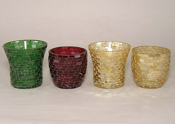 Picture of Assorted color Mosaic Glass Votive set of 4 #KMV11