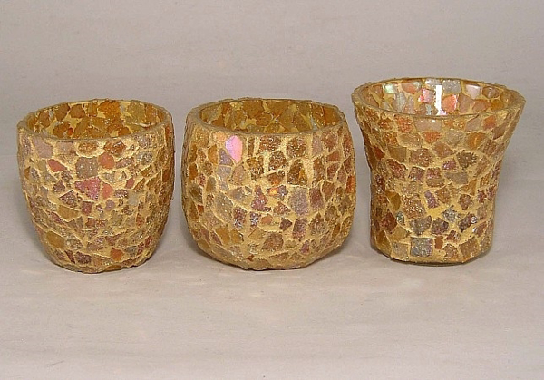 Picture of Gold Mosaic Glass Votive set of 3 #KMV7