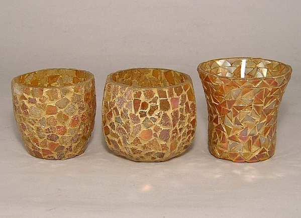 Picture of Gold Mosaic Glass Votive set of 3 #KMV8