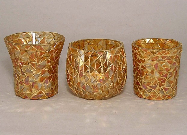 Picture of Gold Mosaic Glass Votive set of 3 #KMV9