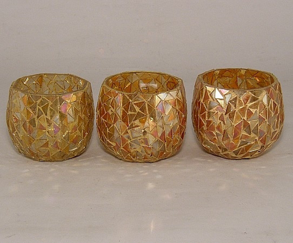 Picture of Gold Mosaic Glass Votive set of 3 #KMV23