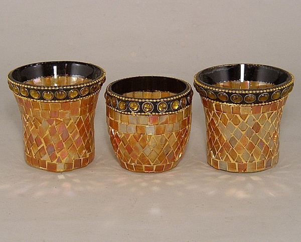 Picture of Gold Mosaic Glass Votive set of 3 #KMV25