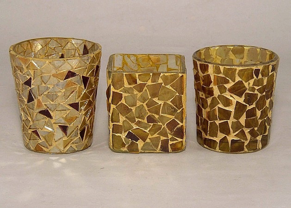 Picture of Tiger Mosaic Glass Votive set of 3 #KMV14
