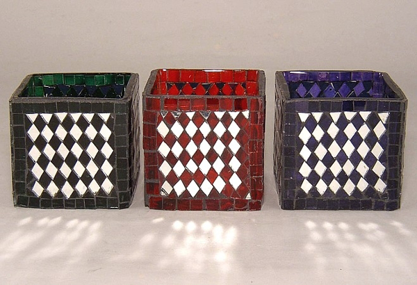 Picture of Color Mosaic Glass Votive set of 3 #KMV6