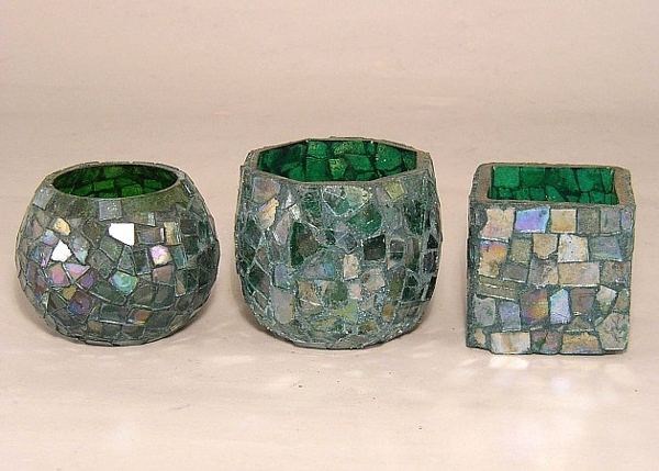 Picture of Green Mosaic Glass Votive set of 3 #KMV13