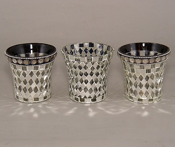 Picture of Silver Mosaic Glass Votive set of 3 #KMV24