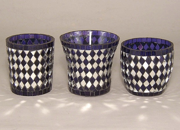 Picture of Purpely-Blue Mosaic Glass Votive set of 3 #KMV6-2
