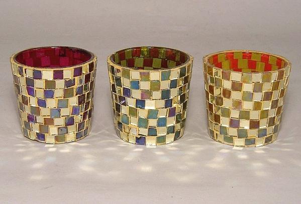 Picture of Mosaic Glass Votive set of 3 #KMV12