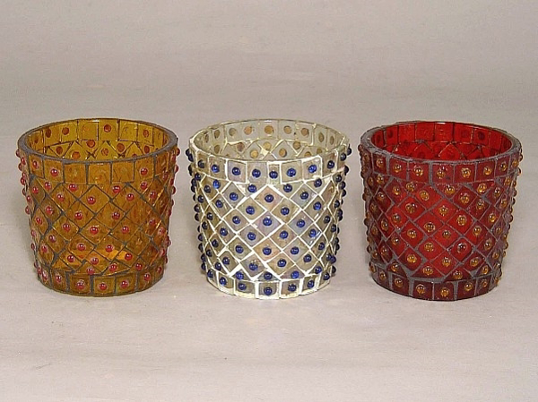 Picture of Mosaic Bead Glass Votive set of 3 #KBV2
