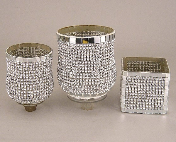 Picture of Silver rhinestone Votive set of 3 #KMV2