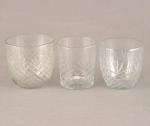 Picture of Clear cut Glass Votives set of 3 #KMS3