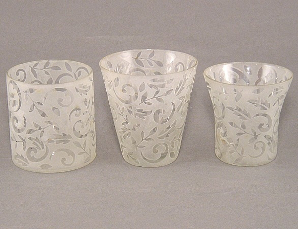 Picture of Engraved Frost Glass Votives set of 3 #KMS1
