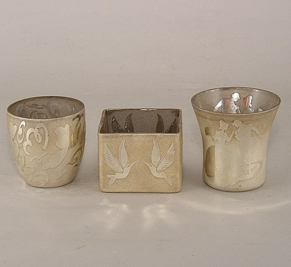 Picture of Embossed Silver Mercury Glass Votives set of 3 #KMS4