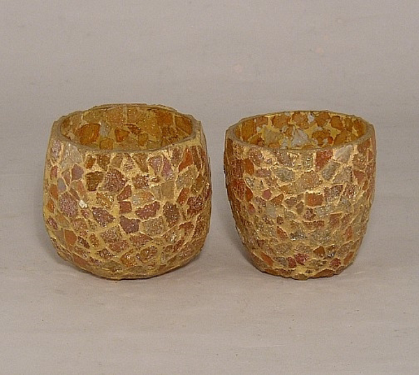 Picture of Gold Mosaic Glass Votive set of 2 #KMV26