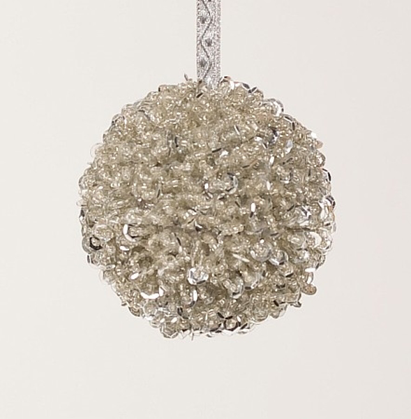 """Picture of Silver Bead Ball Ornament with Silver Hanging Ribbon   3""""Diameter    Item No. 43102"""