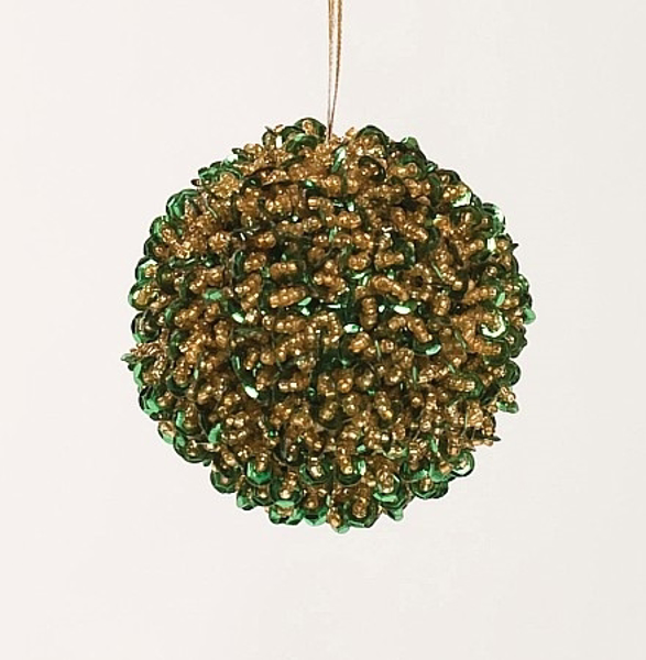 """Picture of Green Bead Ball Ornament with Hanging String 