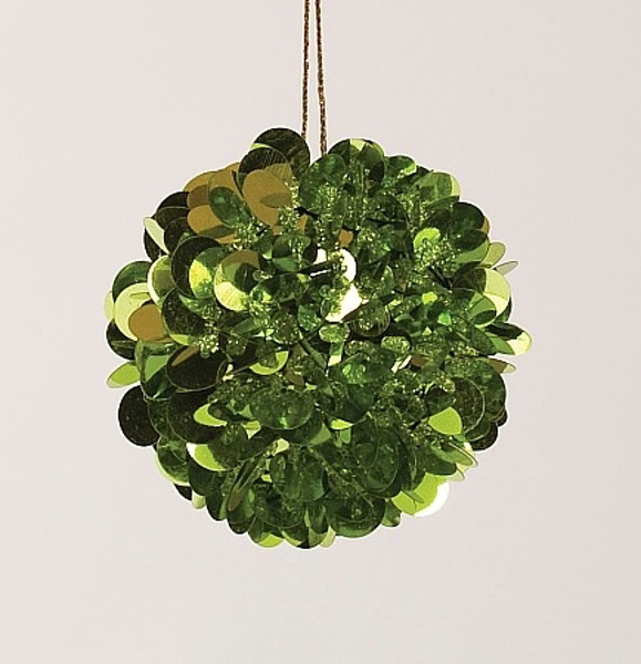 "Picture of Green Sequin Ball Ornament with Gold Hanging String | 3""Diameter 