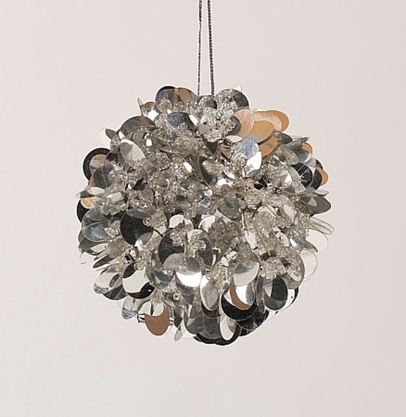 """Picture of Silver Sequin Ball Ornament with Silver Hanging String 