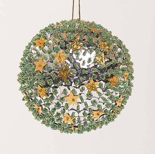 """Picture of Silver Sequin Stars Ball Ornament with Hanging String   4""""Diameter    Item No. 43152"""
