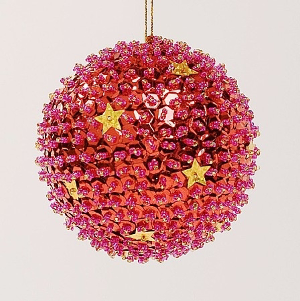 """Picture of Red Sequin Stars Ball Ornament with Hanging String 