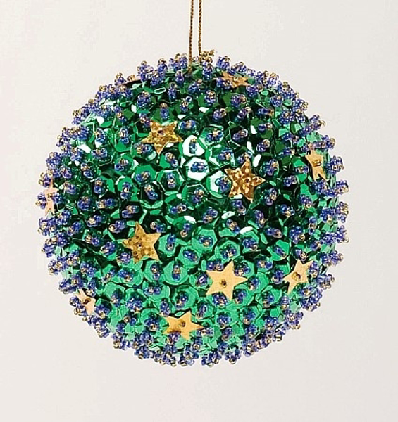 """Picture of Green Sequin Stars Ball Ornament with Hanging String 