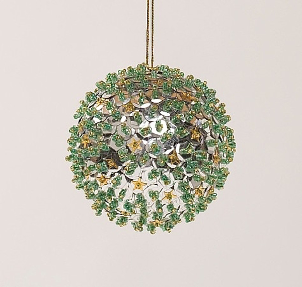 "Picture of Silver Sequin Stars Ball Ornament with Hanging String | 3""Diameter 