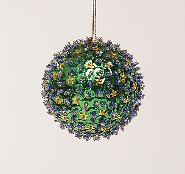 """Picture of Green Sequin Stars Ball Ornament with Hanging String   3""""Diameter    Item No. 43124"""